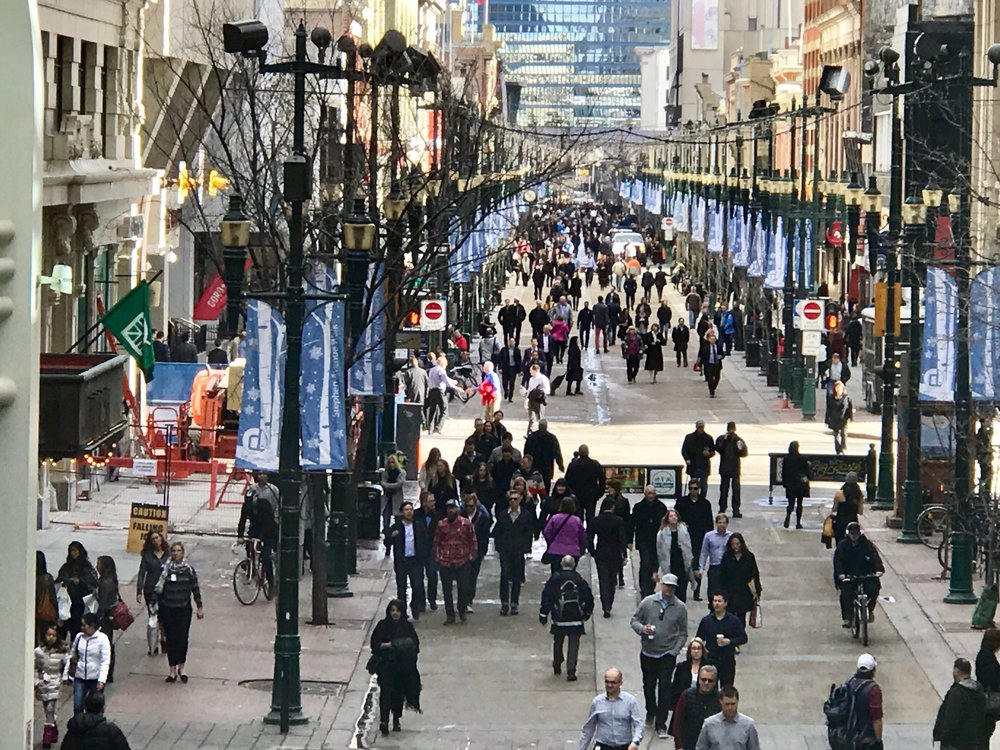 Stephen Avenue can be busy even in the middle of winter.