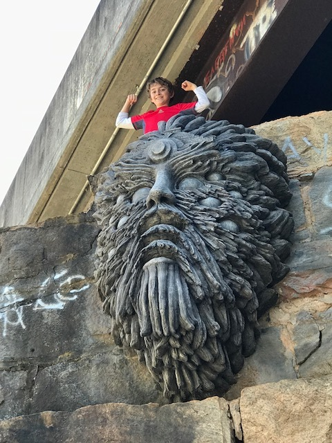 No idea who create this troll or why, it is guarded one of the many underpasses along the Beltline.  Kids loved climbing up the hill to the troll.