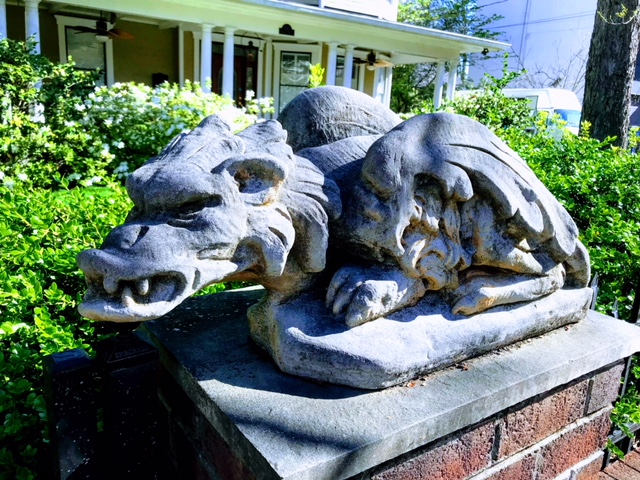 Found this evil winged gargoyle on a post in the front yard or a house behind our Airbnb. I loved it but can't imagine many would.