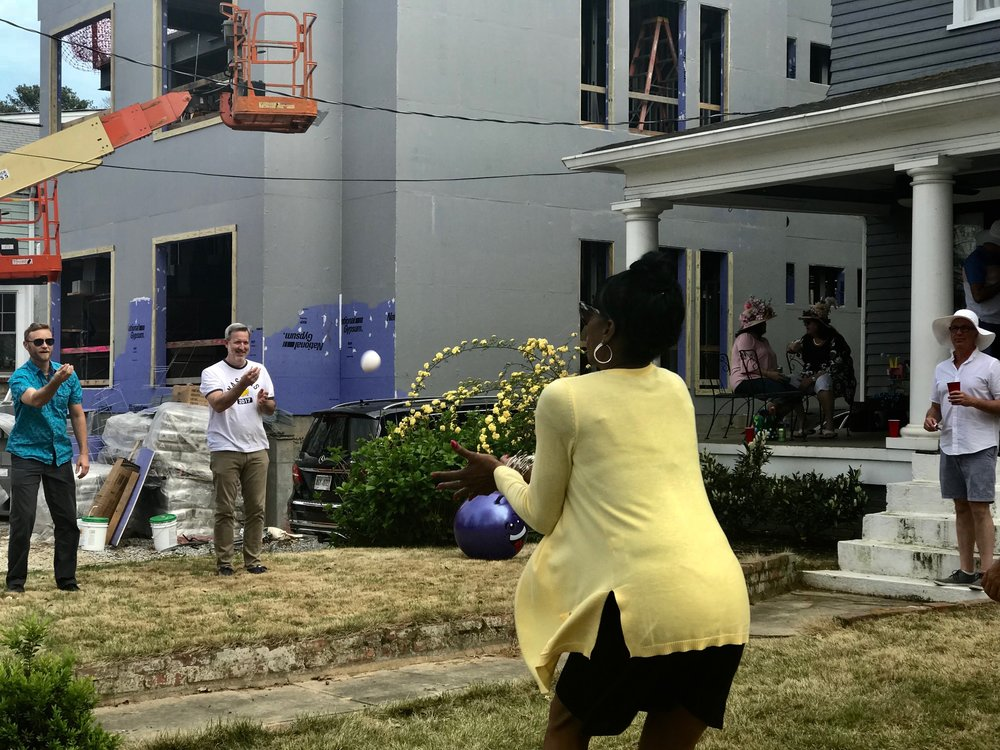 On Easter Sunday, there were lots of outdoor celebrations like this adult only party that included an egg toss on the front lawn.