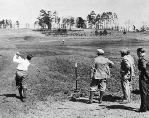 Bobby Jones hitting shots as means of testing out the progress in the design of Augusta National.