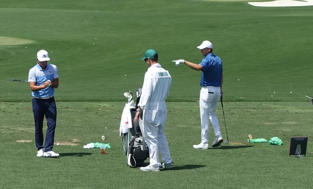 Jordan having fun with Rickie on the range...