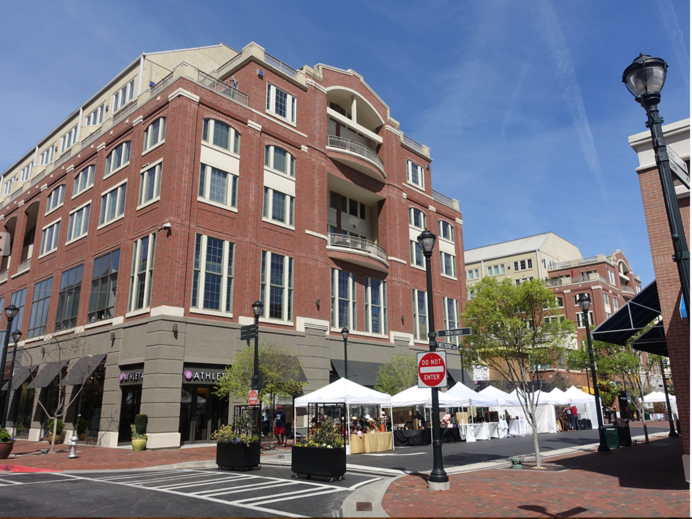 Setting up for Sunday artisan market at Atlantic Station.