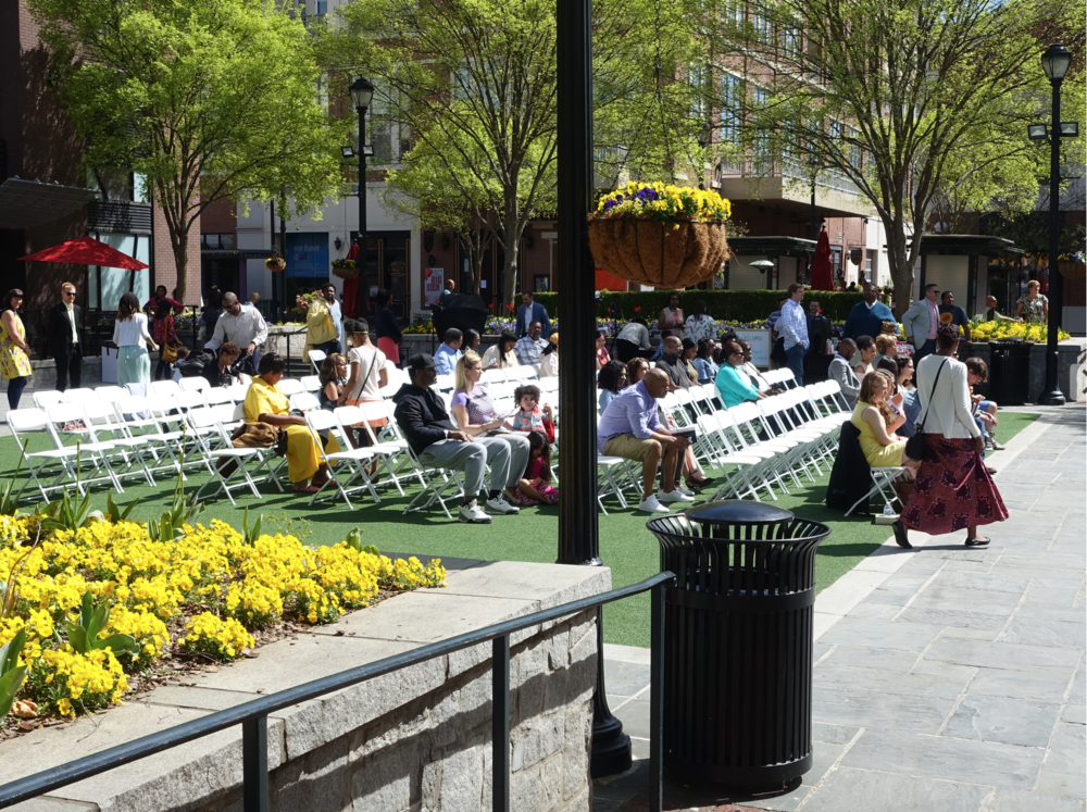 Sunday morning church service in Atlantic Station's Central Plaza