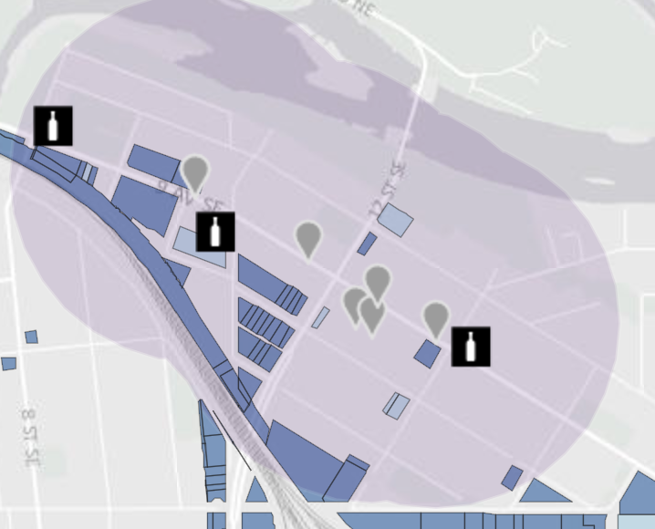 "Ingleweed will get a new look this summer when several ""pot shops"" open up along 9th Avenue SE.  The grey balloons indicate sites with pending applications. Bottles indicate liquor stores and flags schools. (source: City of Calgary website)"