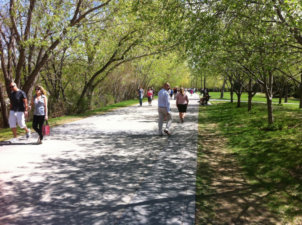 In summer, Calgary's Bow River pathway on the edge of downtown is a special place to stroll.
