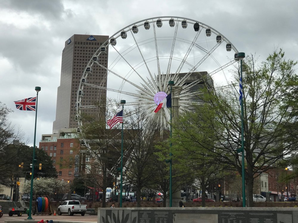 Even though there was nobody on the Ferris Wheel, it creates a playful sense of place.