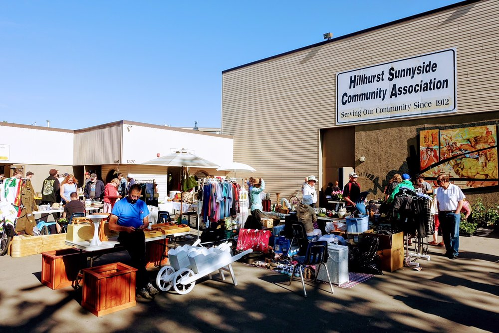 The Hillhurst Sunnyside Community Association building is used for a variety of events year round including the popular Sunday Flea Market .
