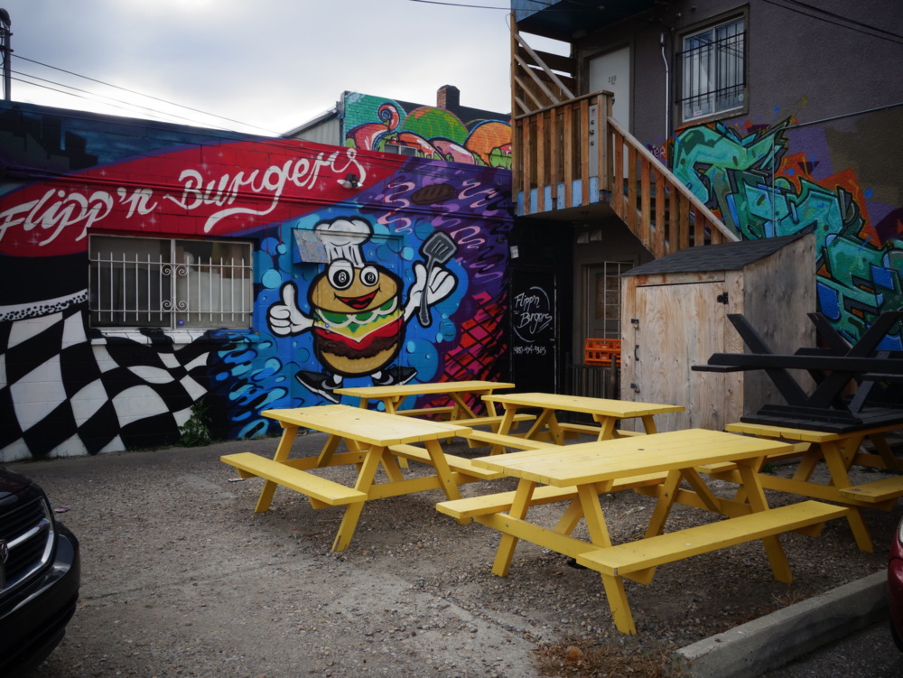 How cool is   Flipp'n Burgers   back alley picnic area?