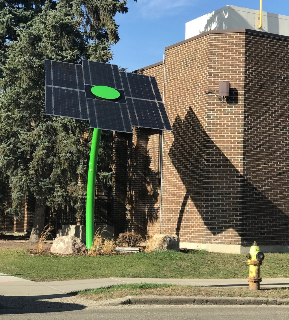 If you walk a block west of 14th St NW along Kensington Road you might stumble upon these solar panels designed to look like a funky flower.