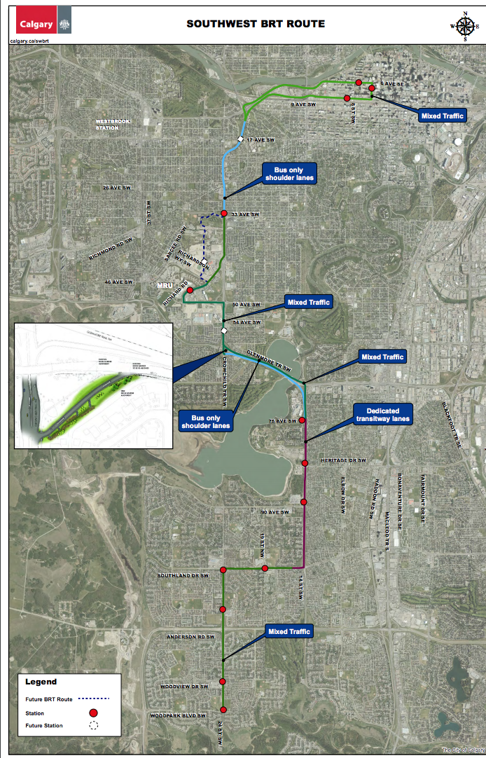 SW BRT route. The dedicated transitway (red) is the controversial section.  (photo credit: City of Calgary)