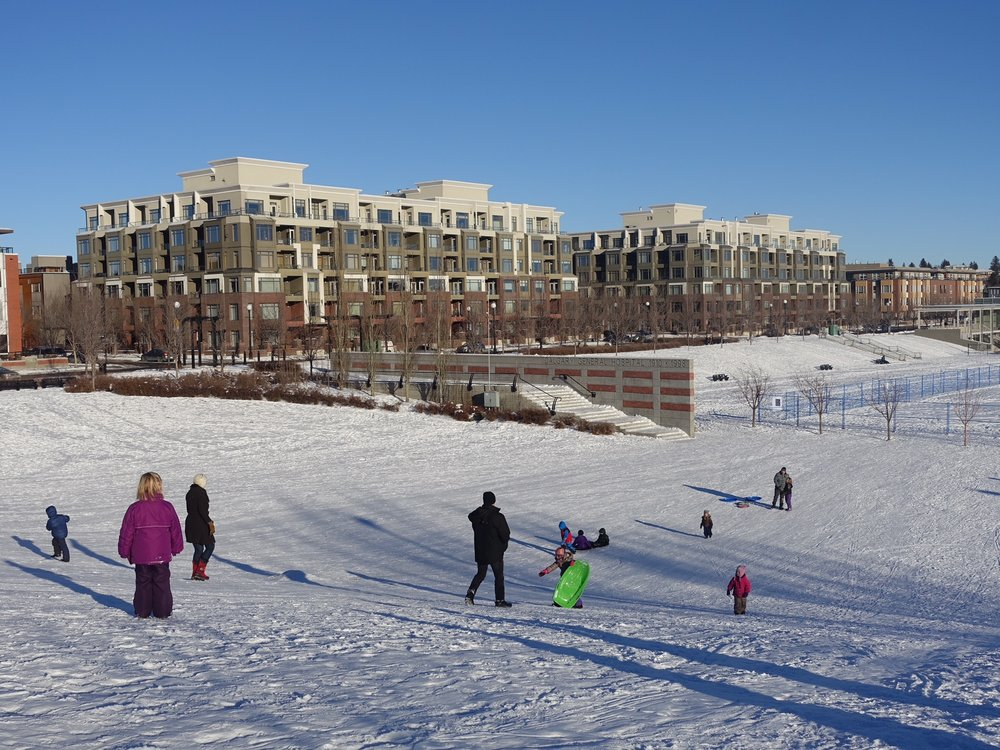 Murdoch Park in Bridgeland is a popular family park even in Calgary's winter.