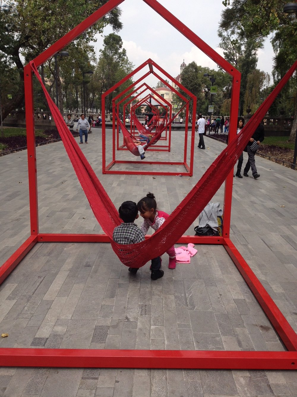 Everybody loved this temporary installation of hammock swings in Mexico City's Central Plaza. They would make a great addition to a community park. I love the idea of moving them every few weeks.