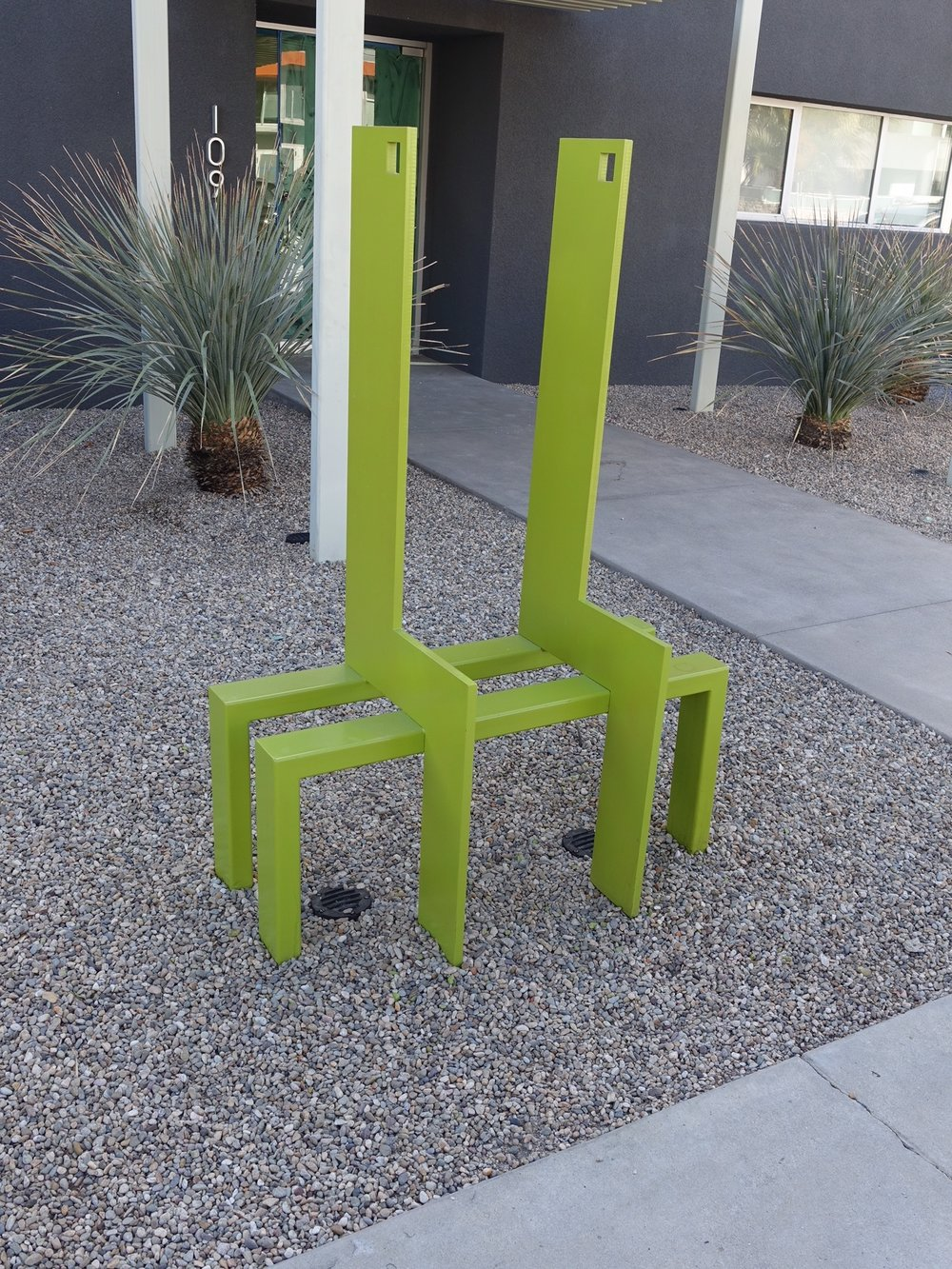 "This chair/sculpture in downtown Palm Springs would make for a fun playground element.  Kids would love to climb it, sit on it and crawl under it. I know some of you are saying ""what about the sharp corners?"" Well our Grand Trunk Playground has a playground piece with similar corners and it was Canadian Standards Approved."