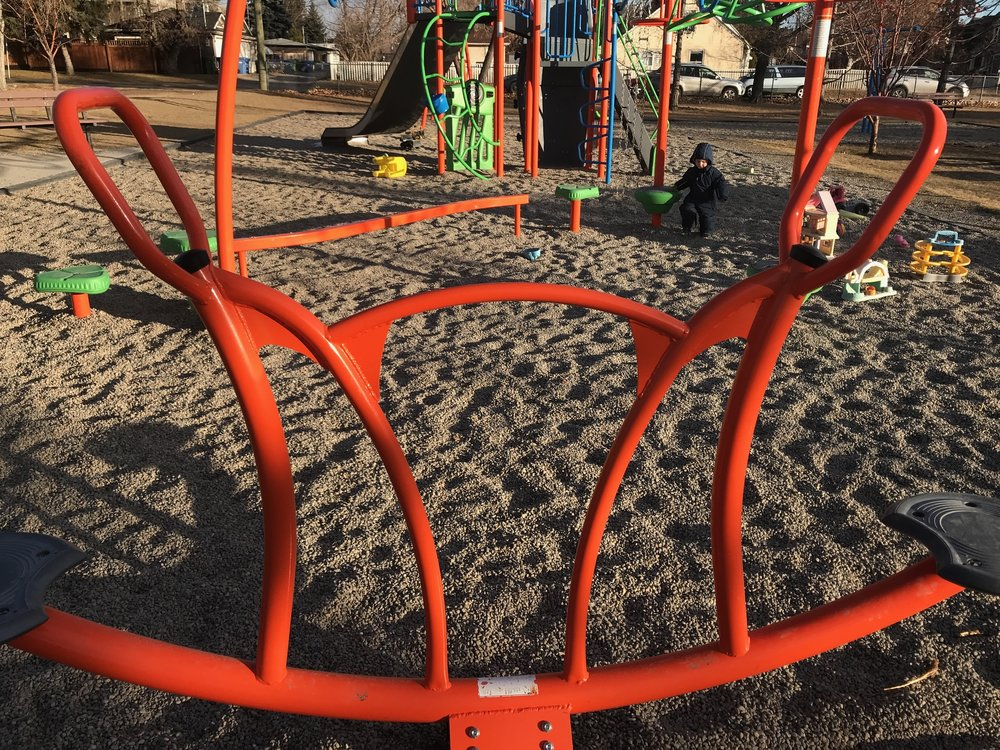 Calgary's Grand Trunk Park's teeter-totter has some nice sculptural characteristics.
