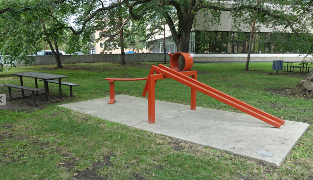 "This sculpture, ""Jump"" by Brian Newman located behind City Hall would fit nicely into a children's playground."