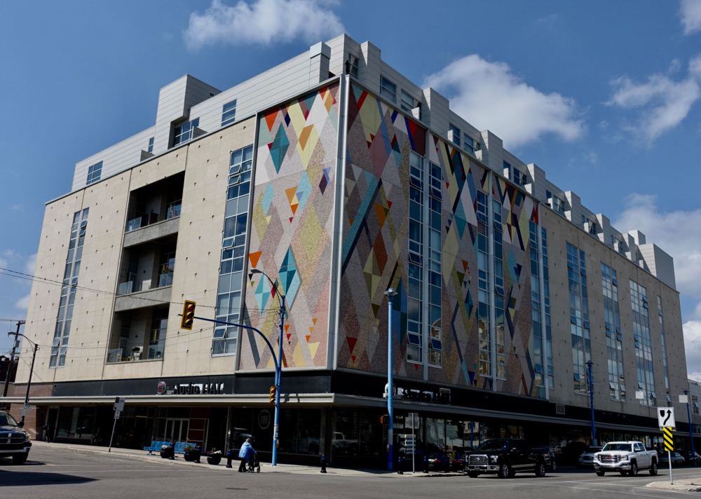 Mural on the side of the mid-century modern Hudson's Bay department store that is now a condo.