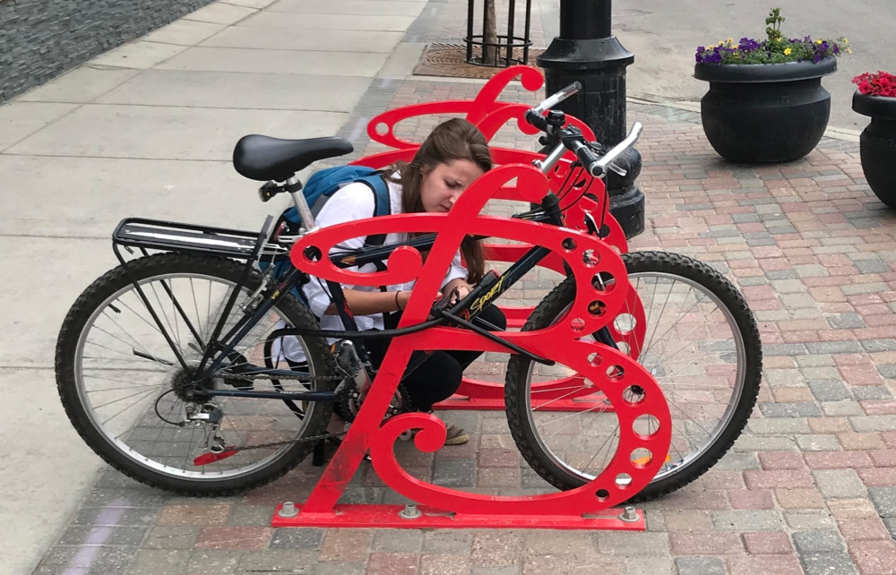 Bike racks on Broadway.