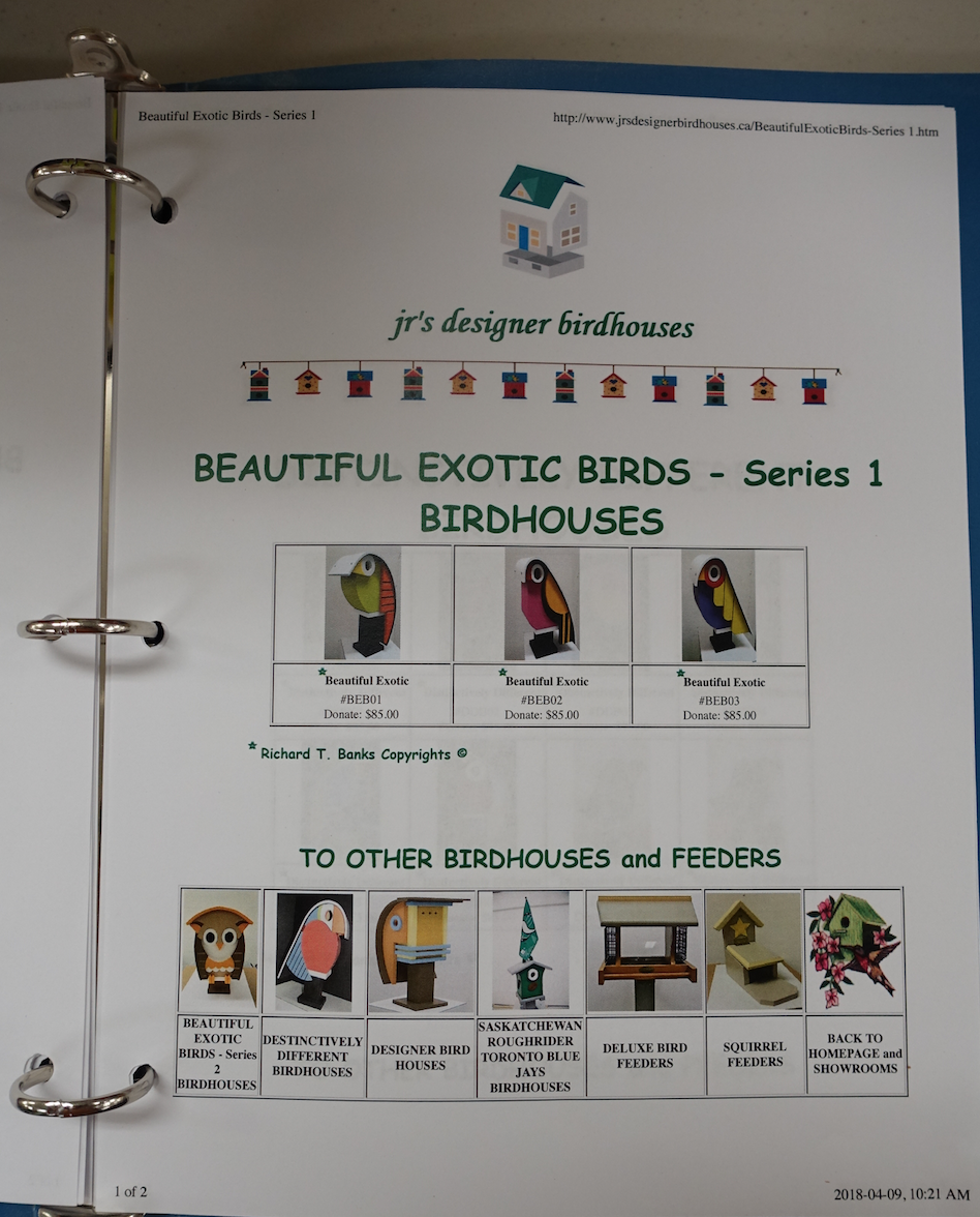 JR has a binder with the different birdhouses and other items for sale.
