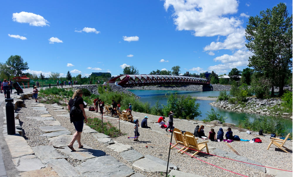 The new West Eau Claire park is a great place to sit, chat and catch some rays.