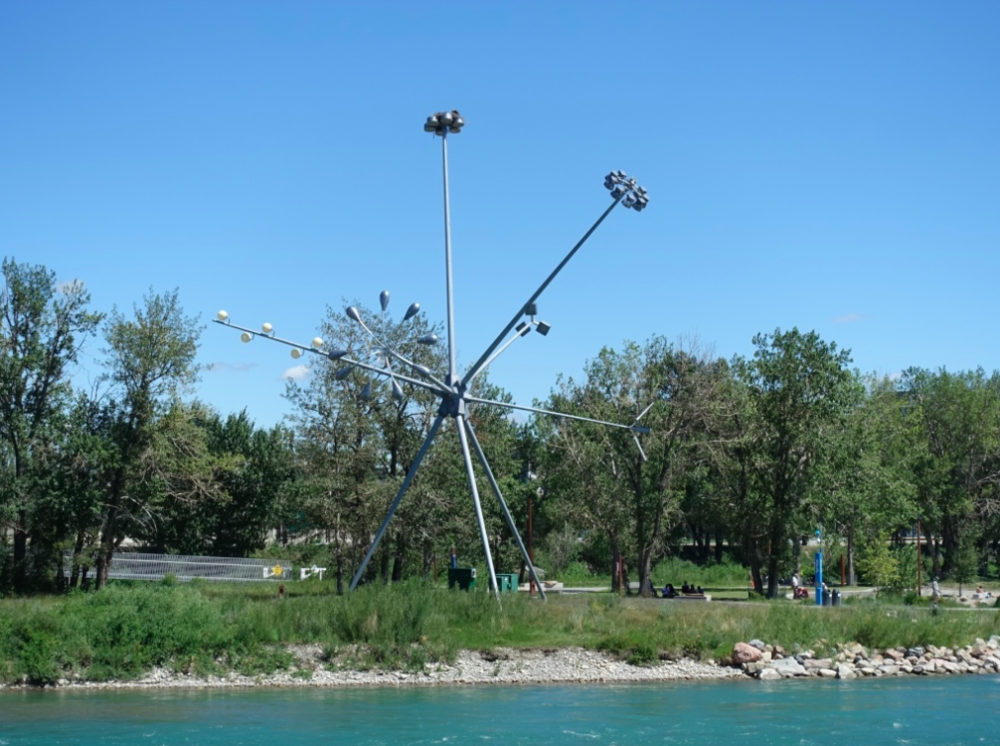 There is public art scattered all along the Bow River's edge, including this one that has become home to nesting pair of Osprey.
