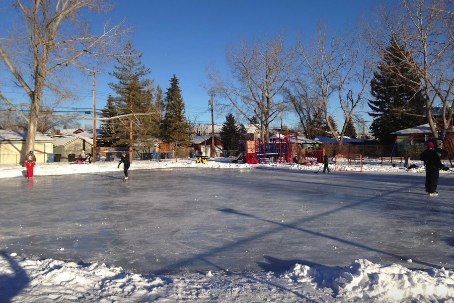 We have several outdoor skating rinks in the winter, like this one that is shared by hockey players and figure skaters.