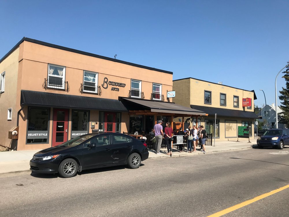 Bow view Apartments is owned by Highbanks Society. It provides shelter and access to education and resources for single moms 16 to 24 years old.  The Dairy Lane operating since 1950, is Calgary's iconic diner. They make a classic milkshake.