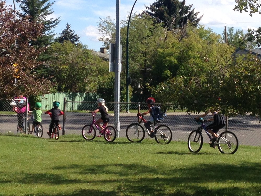West Hillhursters love to cycle. While we don't have any cycle tracks we do have the highest number of people cycling to work of any neighbourhood in Calgary.  We start them young!