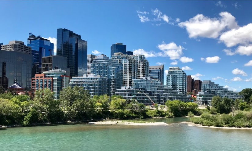 This is the view of downtown from the Centre Street bridge with Waterfront in the foreground.  Increasingly the downtown office towers are becoming hidden by a ring of condos which is changing the city's skyline.