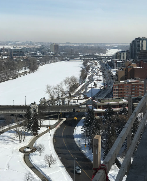 Bow River Promenade snakes its way from Centre Street bridge to East Village. It is kept clear of snow in the winter, making it a popular public space year round.
