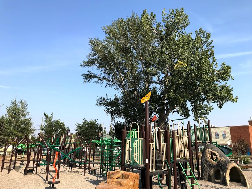 Queen Elizabeth Elementary School playground is just one block away from the West Hillhurst Park playground.