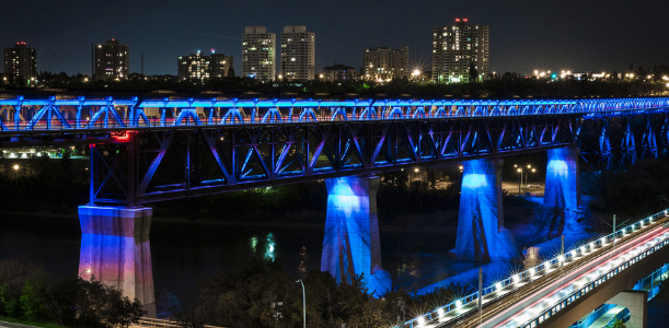 Edmonton's High Level Bridge at night.