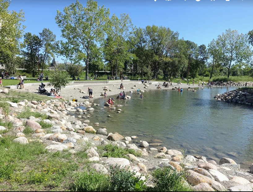The pebble beach in downtown Calgary's St. Patrick's Park is a popular family spot.