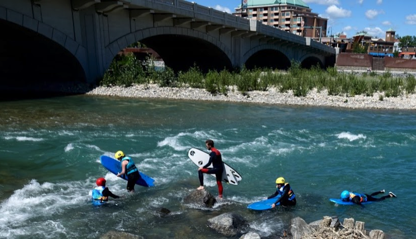River surfing has also become a popular activity in downtown Calgary.