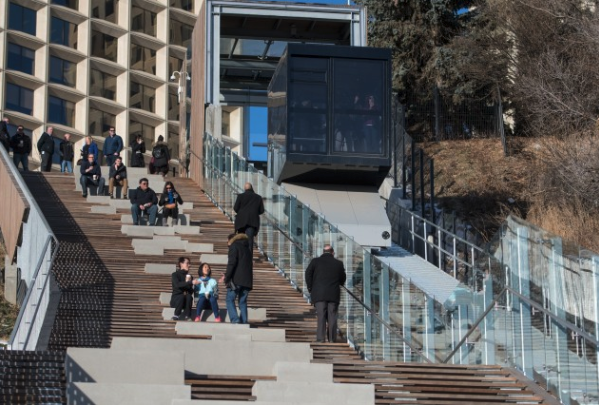 Edmonton's spectacular new funicular and stairs is a lovely urban public space.
