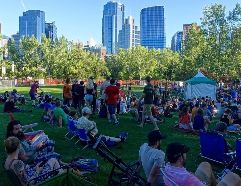Calgary's International Folk Festival's home is Prince's Island which is located on the edge of downtown in the middle of the Bow River.