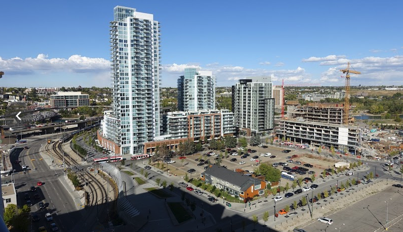 Calgary's massive East Village redevelopment next to the Bow River.