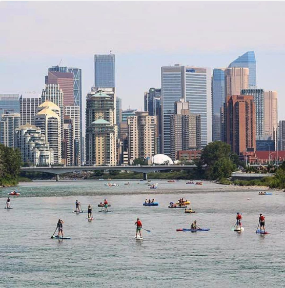 Paddling along the Bow River has become a very popular summer activity in Calgary. (photo credit @surrealplaces)