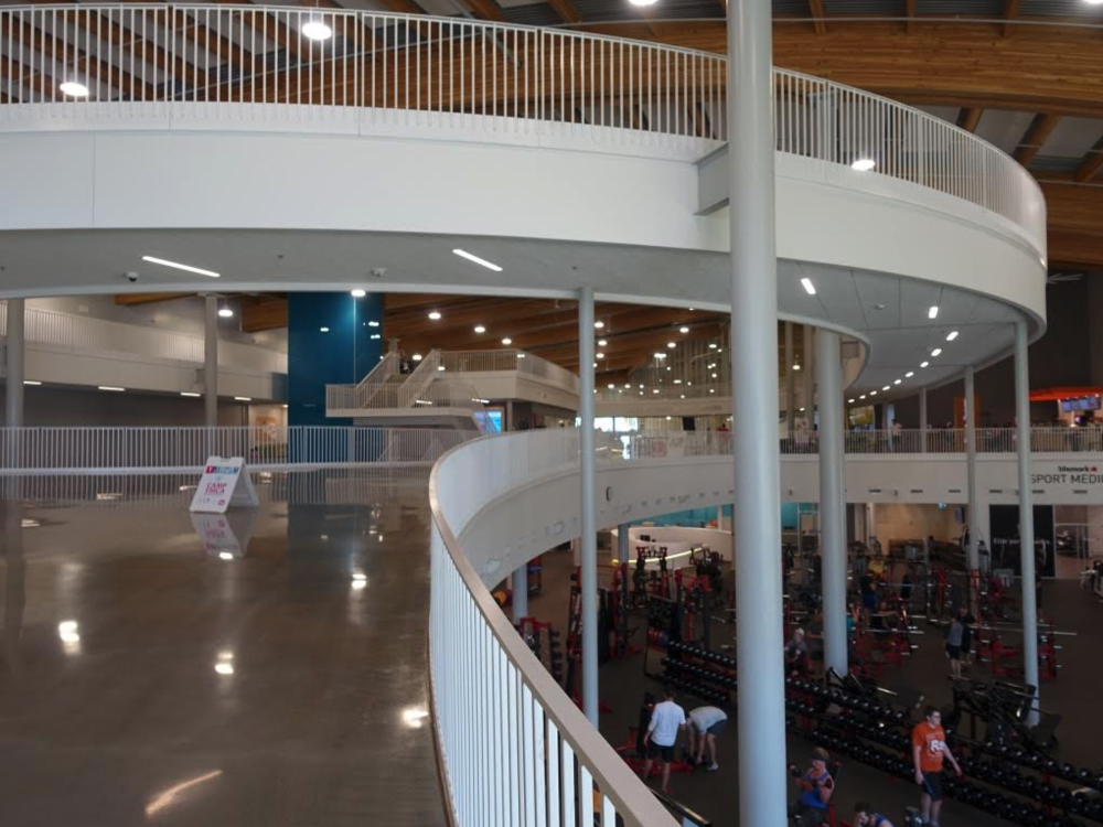 The curved staircase at Calgary's new Shane Homes Rocky Ridge Recreation Centre is an example of creating more public friendly urban design.
