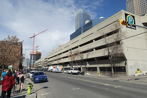 Calgary's City Centre parkade is a good example of late '70s early '80s bland, utilitarian parkade design.
