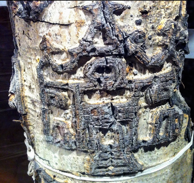 This arborglyph was taken from Fisher Creek area of the Stanley basin, in the Sawtooth National Forest.  It is an image of a church carved into the tree. It took about 20 years for this aspen tree to mature enough to reveal the carving when it was alive. The tree had been dead for a number of years when this section was removed for preservation. (museum notes). To me it looks like a angle or  perhaps  even a Thunderbird from North  American   indigenous culture.