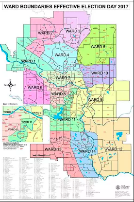 Calgary's Ward system corresponds nicely with Jane Jacob's suggestions that a city should be divided into districts of about 50,000 to 100,000 people.