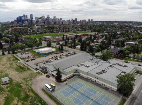 The recreation centre and park in the foreground is in West Hillhurst, while the Queen Elizabeth School and fields across the street is in Hillhurst. Does this matter? (photo credit: Ross Aitken Re/Max Real Estate Central)