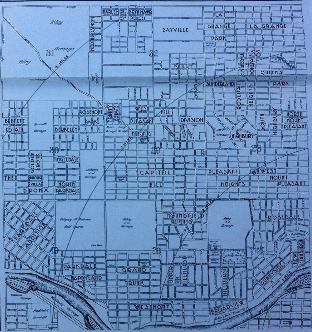 This early 20th century map indicates that there were several neighbourhoods in what is now Hillurst and West Hillhurst.