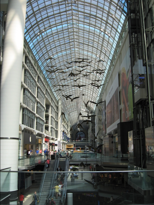 Toronto's Eaton Centre with its Michael Snow artwork of Canadian geese opened in 1977 and quickly became an iconic urban shopping centre internationally. It has been copied by most Canadians cities with poor results.
