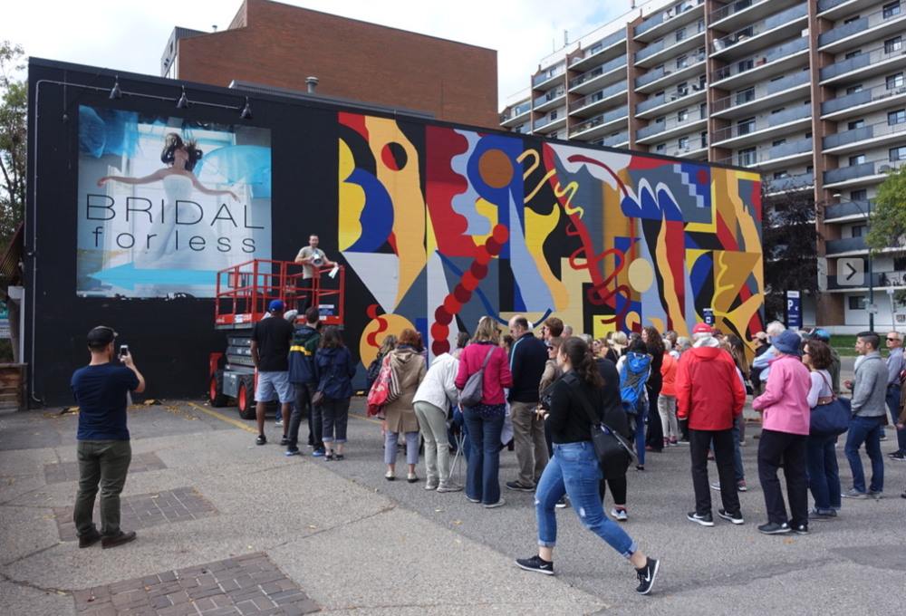Some millennials enjoying the new Beltline murals. Note the Bridal advertisement….there are often bridal billboards in the Beltline. Coincidence?