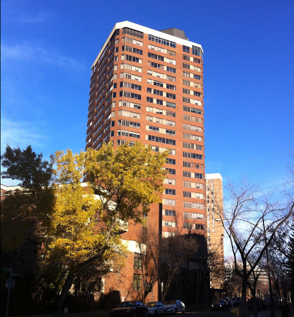 The Estate condo tower next to the Ranchman's Club is one of several condos built in the late '70s early '80s with brick facades.