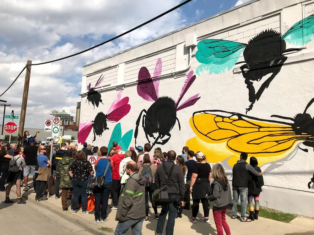 "Natalie Nehlawi's playful mural is meant to ""activate the imagination about a species vital to our ecosystem."""