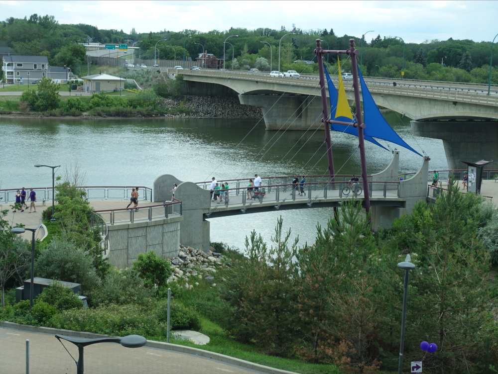 The South Saskatchewan River next to the downtown is a fun urban playground for people of all ages and backgrounds.