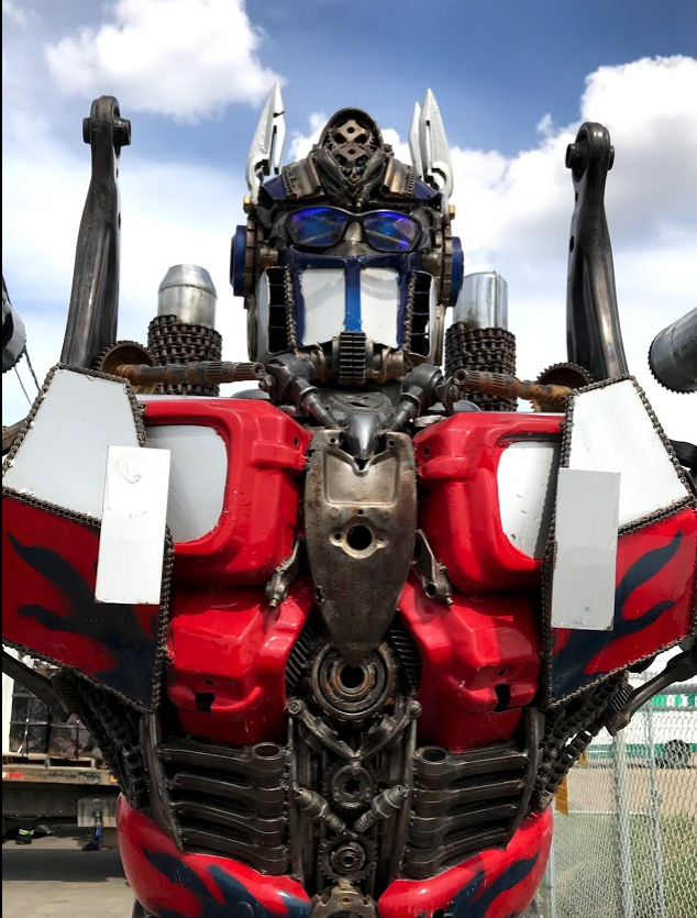 This is one of several robotic creatures found at the entrance to a scrap yard in Saskatoon's industrial district.